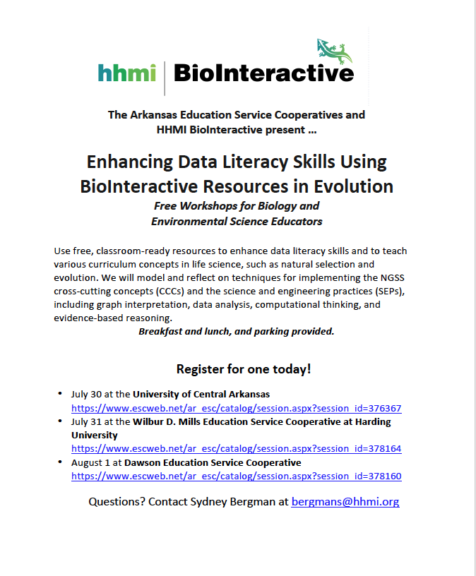 Enhancing Data Literacy Skills Using BioInteractive Resources in Evolution