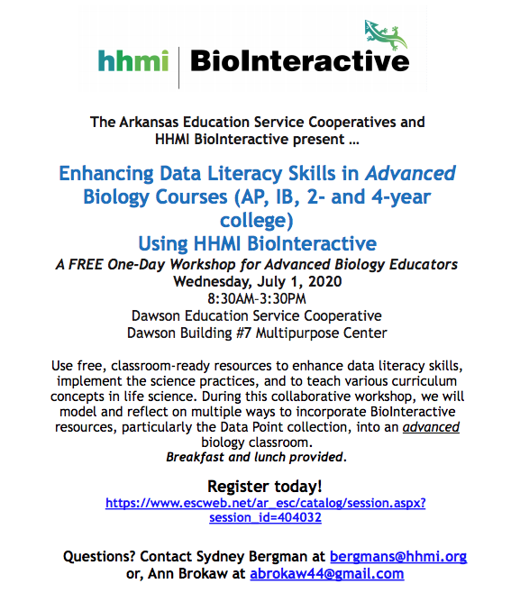 Enhancing Data Literacy Skills in Advanced Biology Courses (AP, IB, 2- and 4-year college) Using HHMI BioInteractive
